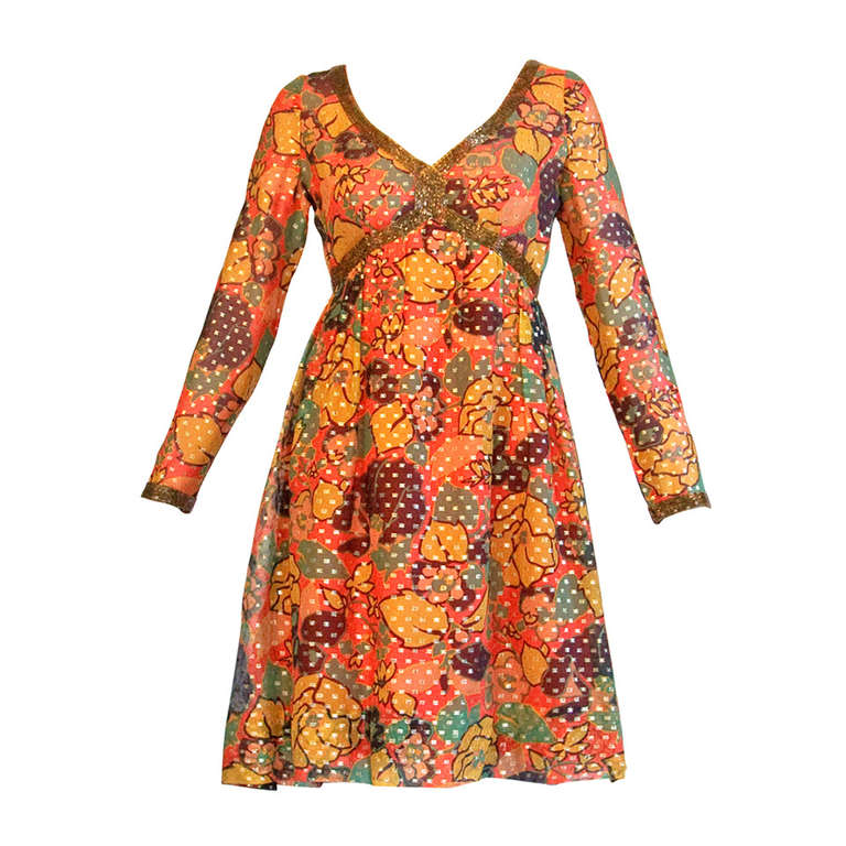 Mollie Parnis Vintage 1970s 70s Metallic Silk Beaded Floral Print Mini Dress For Sale
