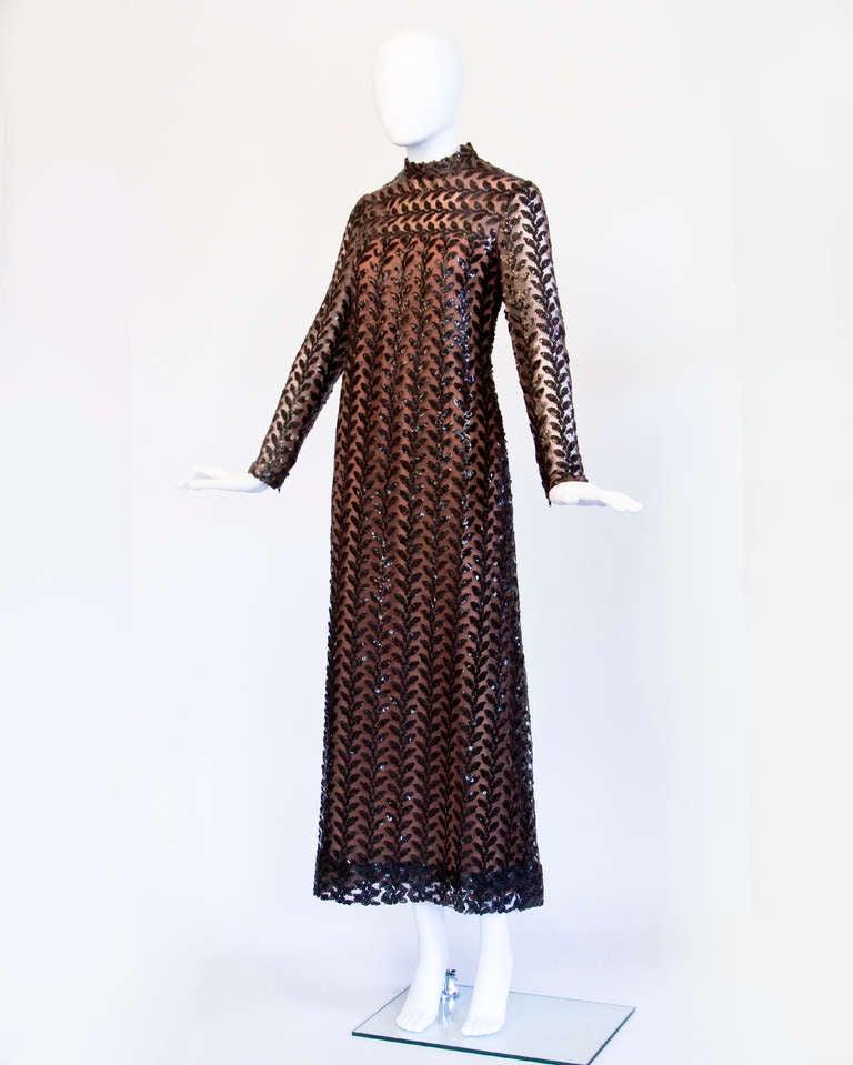 Richilene Vintage 1970s 70s Brown Silk Sequin Sheer Maxi