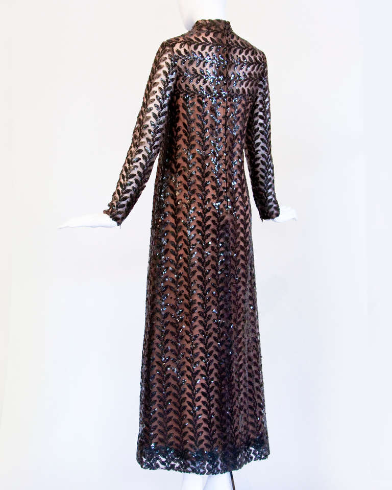 Richilene Vintage 1970s 70s Brown Silk + Sequin Sheer Maxi Dress/ Gown In Excellent Condition For Sale In Sparks, NV