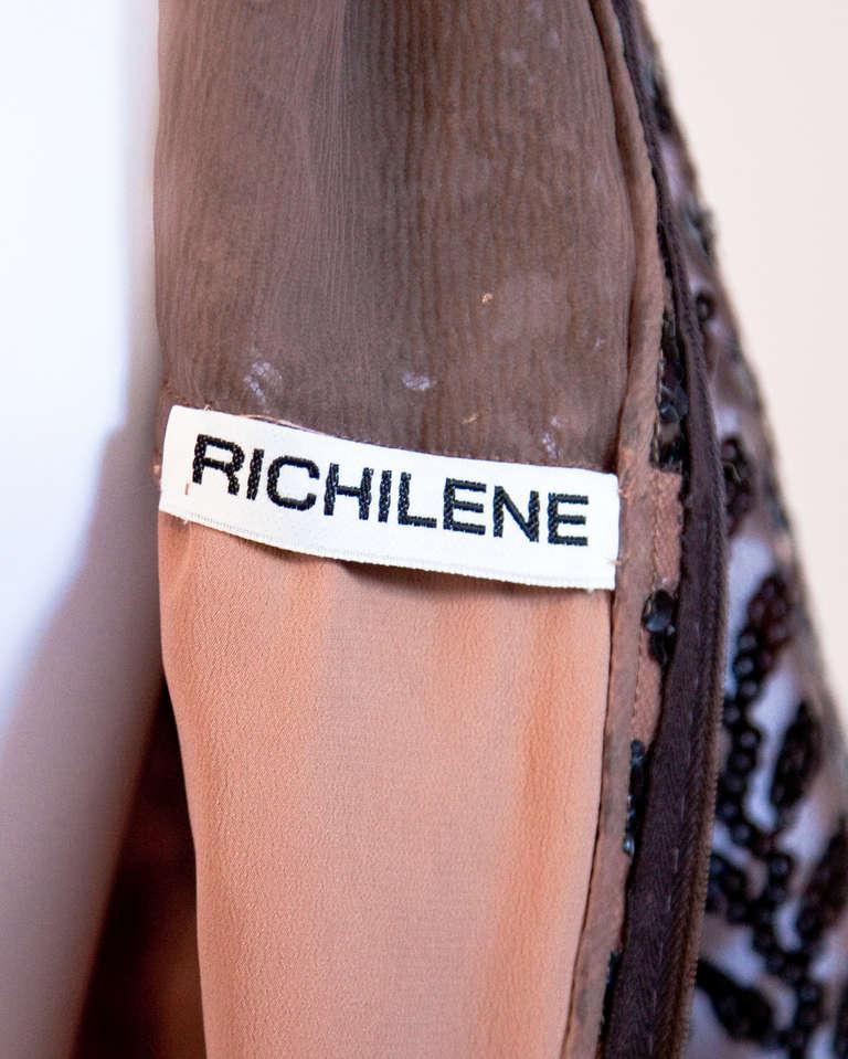 Women's Richilene Vintage 1970s 70s Brown Silk + Sequin Sheer Maxi Dress/ Gown For Sale