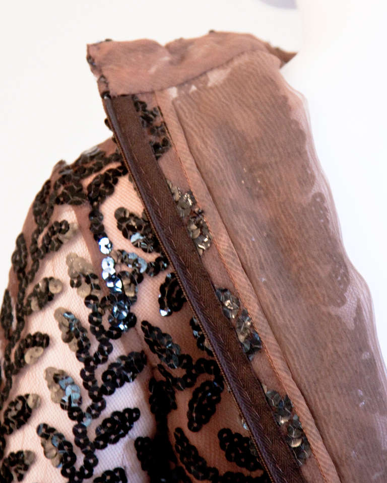 Richilene Vintage 1970s 70s Brown Silk + Sequin Sheer Maxi Dress/ Gown For Sale 1