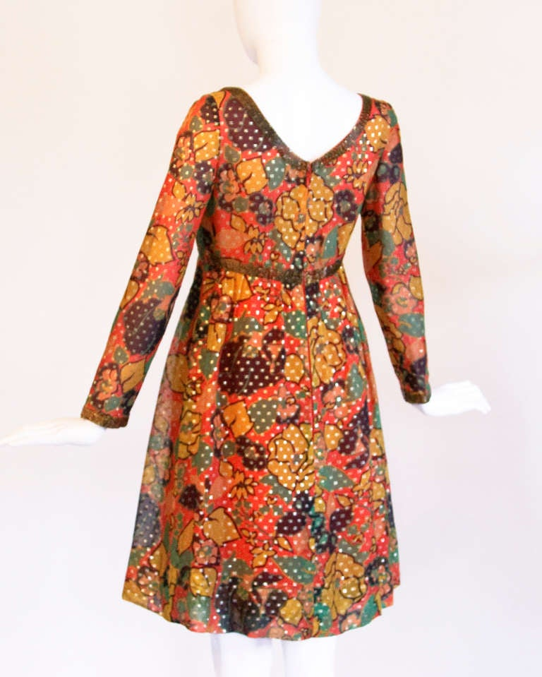 Orange Mollie Parnis Vintage 1970s 70s Metallic Silk Beaded Floral Print Mini Dress For Sale