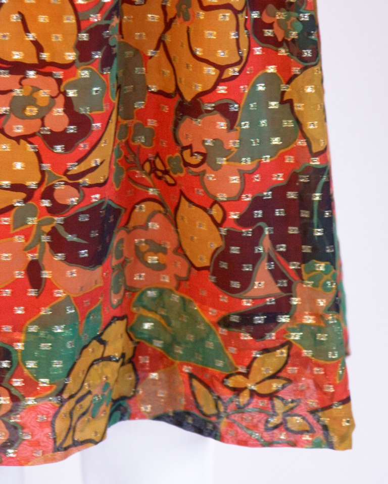 Mollie Parnis Vintage 1970s 70s Metallic Silk Beaded Floral Print Mini Dress For Sale 1