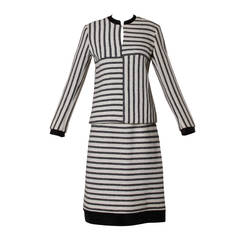 1960s B.H. Wragge Vintage Striped Mod Wool + Silk Skirt Suit