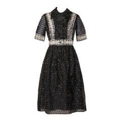 Oscar del la Renta Vintage 1960s Black Silk Metallic Eyelash Dress