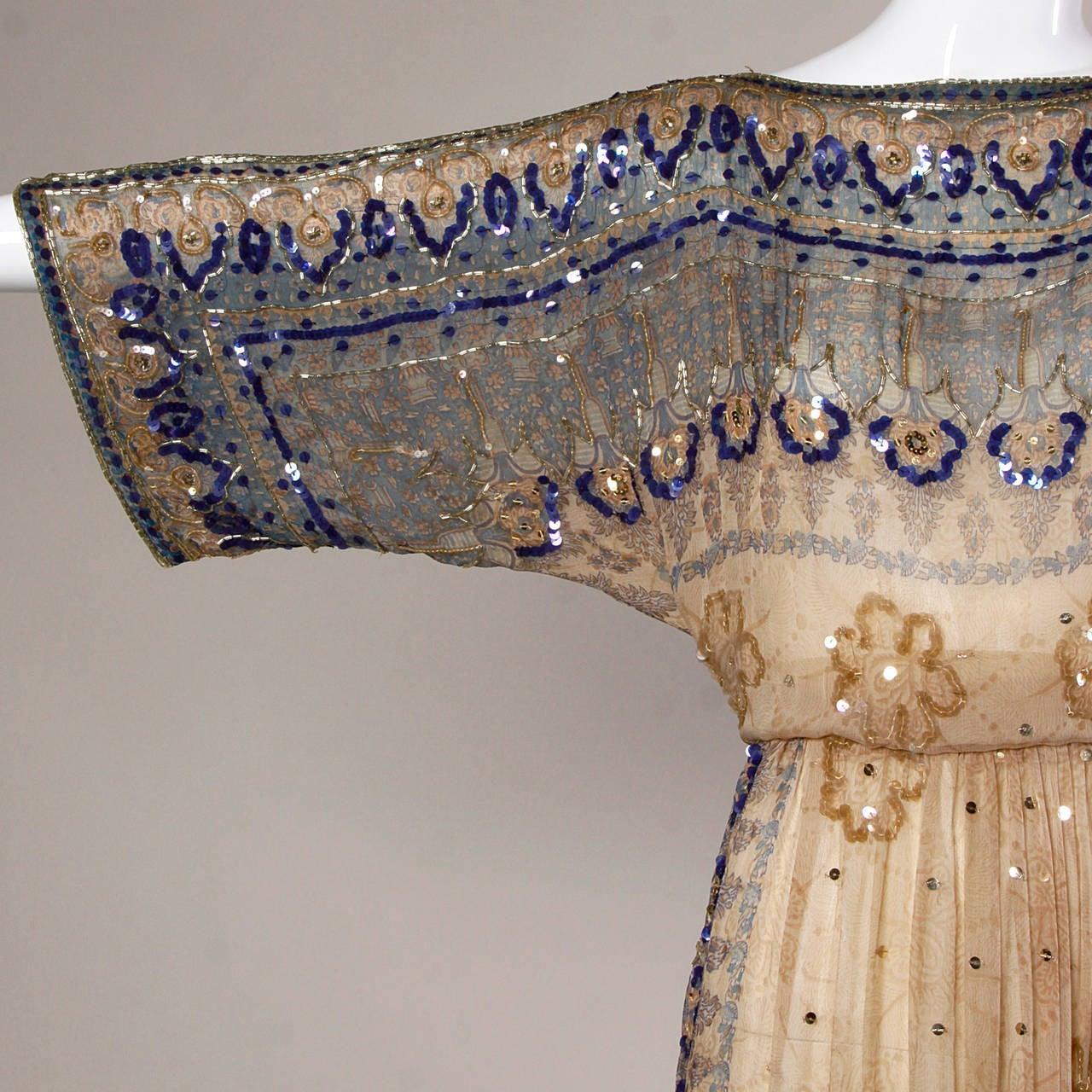 Judith Ann for Bullock's Wilshire Vintage 1970s Silk India Print Dress 3
