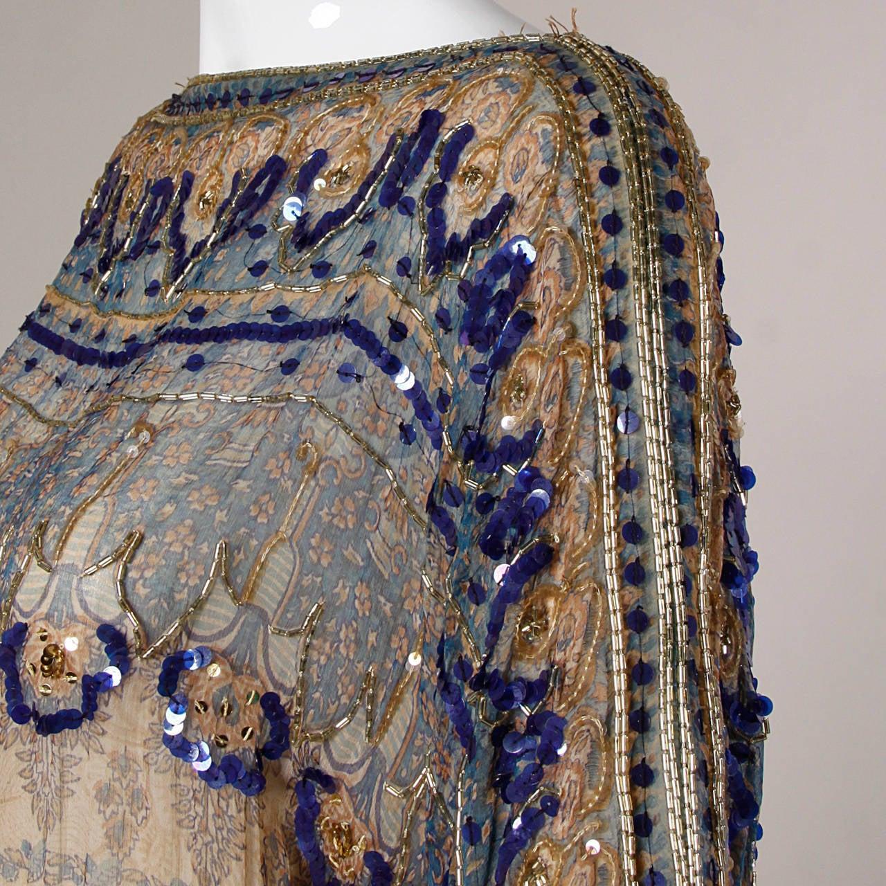 Judith Ann for Bullock's Wilshire Vintage 1970s Silk India Print Dress 4