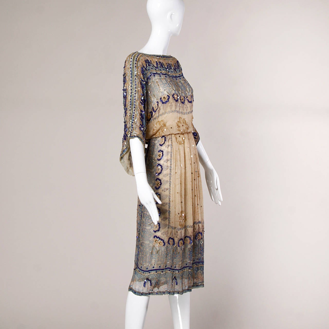 Judith Ann for Bullock's Wilshire Vintage 1970s Silk India Print Dress 2