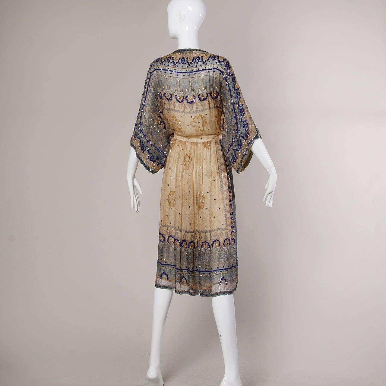 Judith Ann for Bullock's Wilshire Vintage 1970s Silk India Print Dress 8