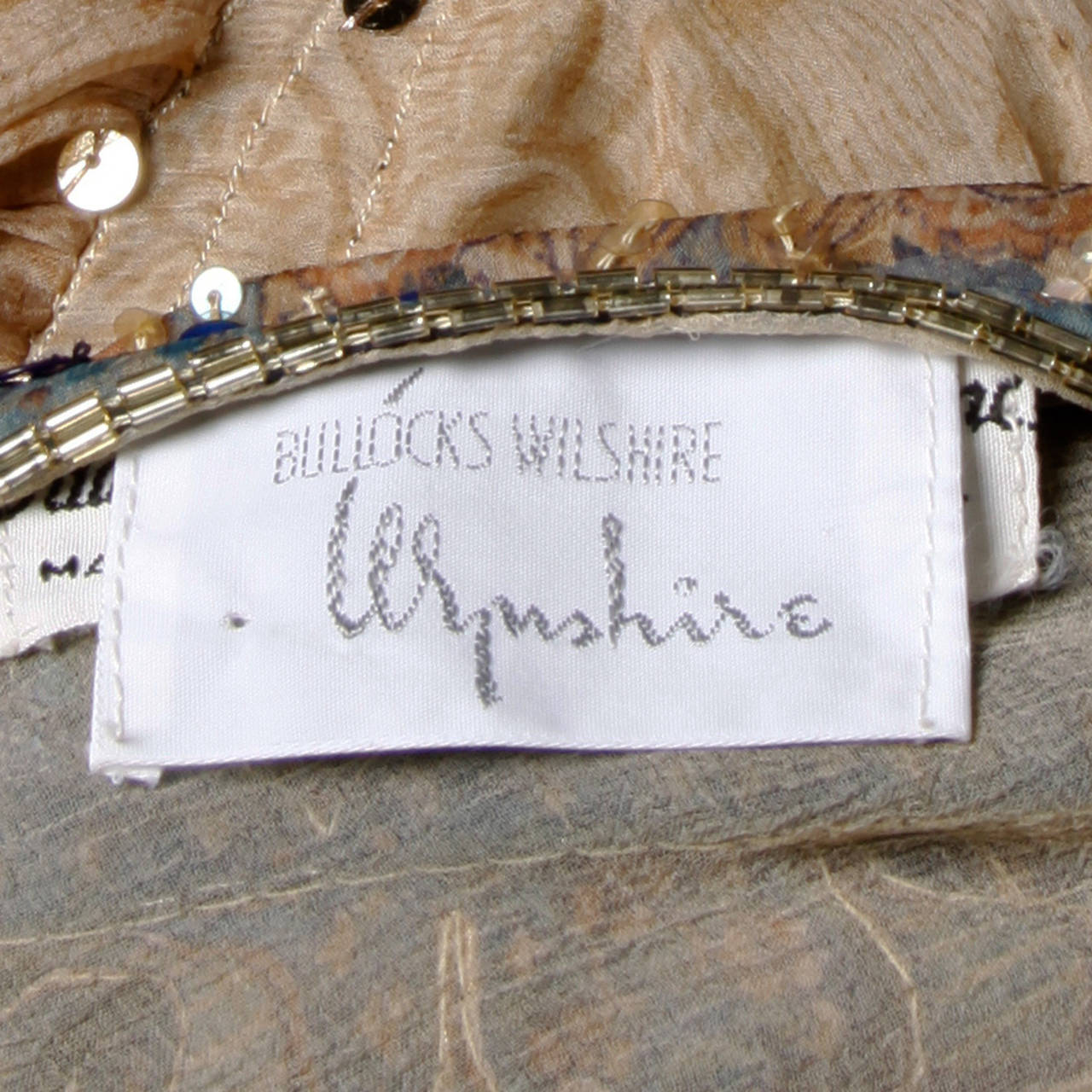 Judith Ann for Bullock's Wilshire Vintage 1970s Silk India Print Dress 10