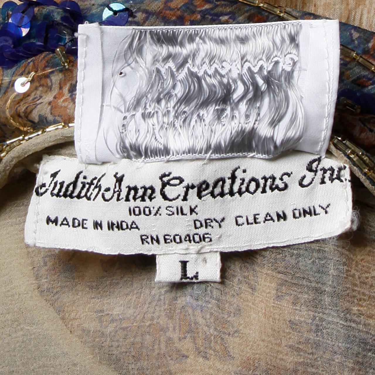 Judith Ann for Bullock's Wilshire Vintage 1970s Silk India Print Dress 9