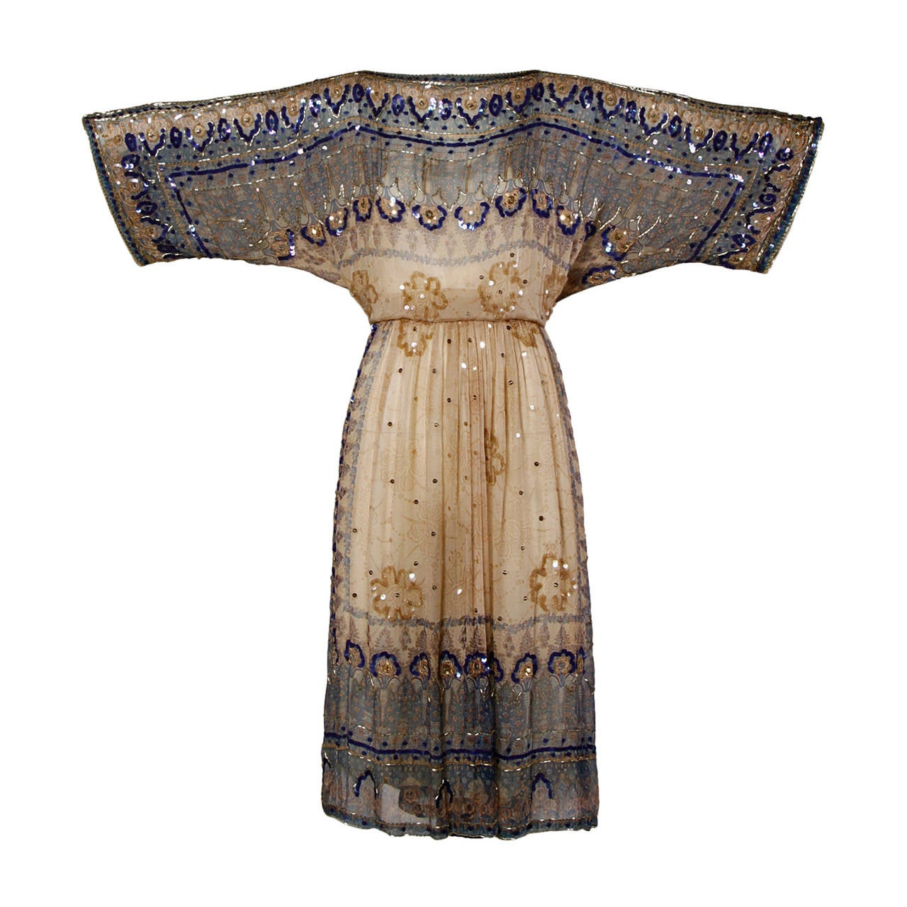 Judith Ann for Bullock's Wilshire Vintage 1970s Silk India Print Dress 1