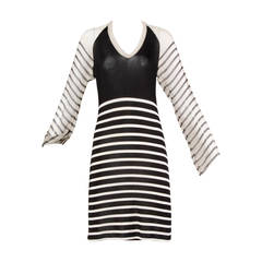 Jean Paul Gaultier Black + White Striped Jersey Dress with Silk Sleeves