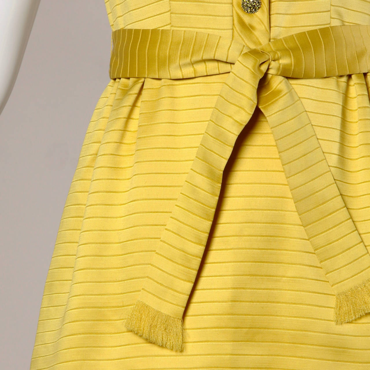 Darling 1960s Vintage Yellow Mini Dress with Rhinestone Buttons 3