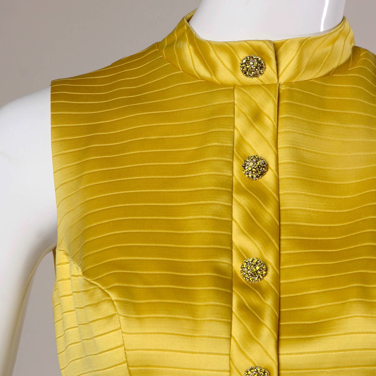Darling 1960s Vintage Yellow Mini Dress with Rhinestone Buttons 2