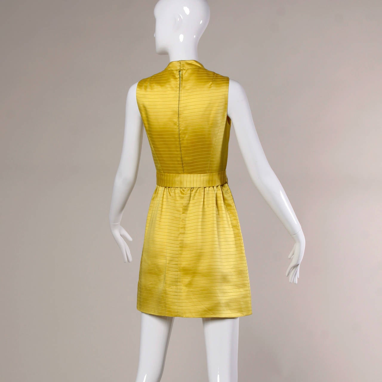 Darling 1960s Vintage Yellow Mini Dress with Rhinestone Buttons For Sale 1