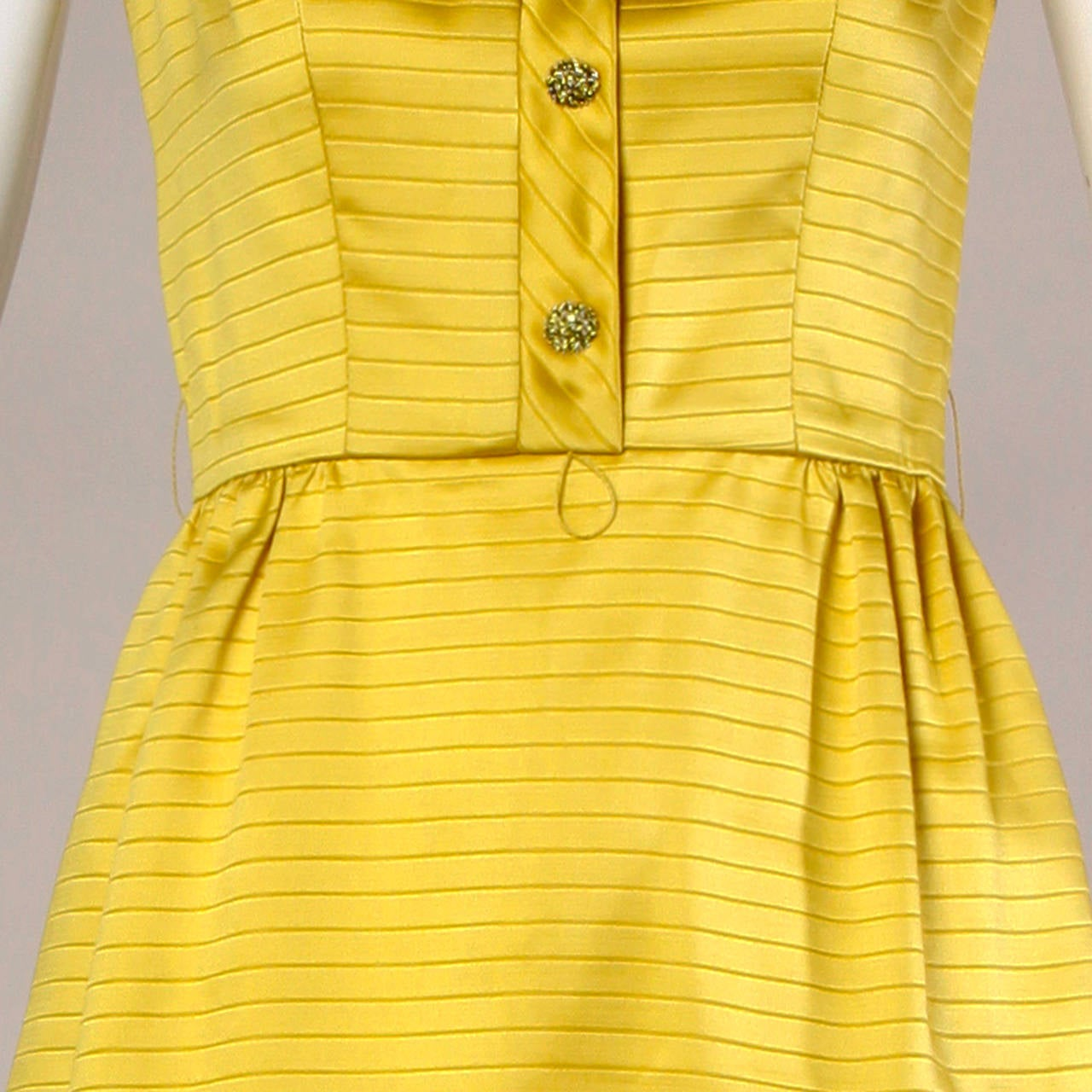 Darling 1960s Vintage Yellow Mini Dress with Rhinestone Buttons 6