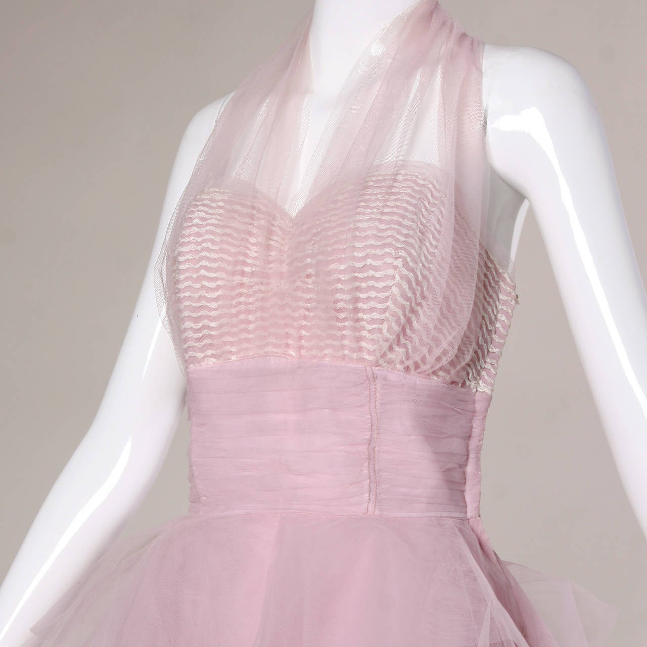 1950s Vintage Tiered Tulle Formal Cupcake Dress 2