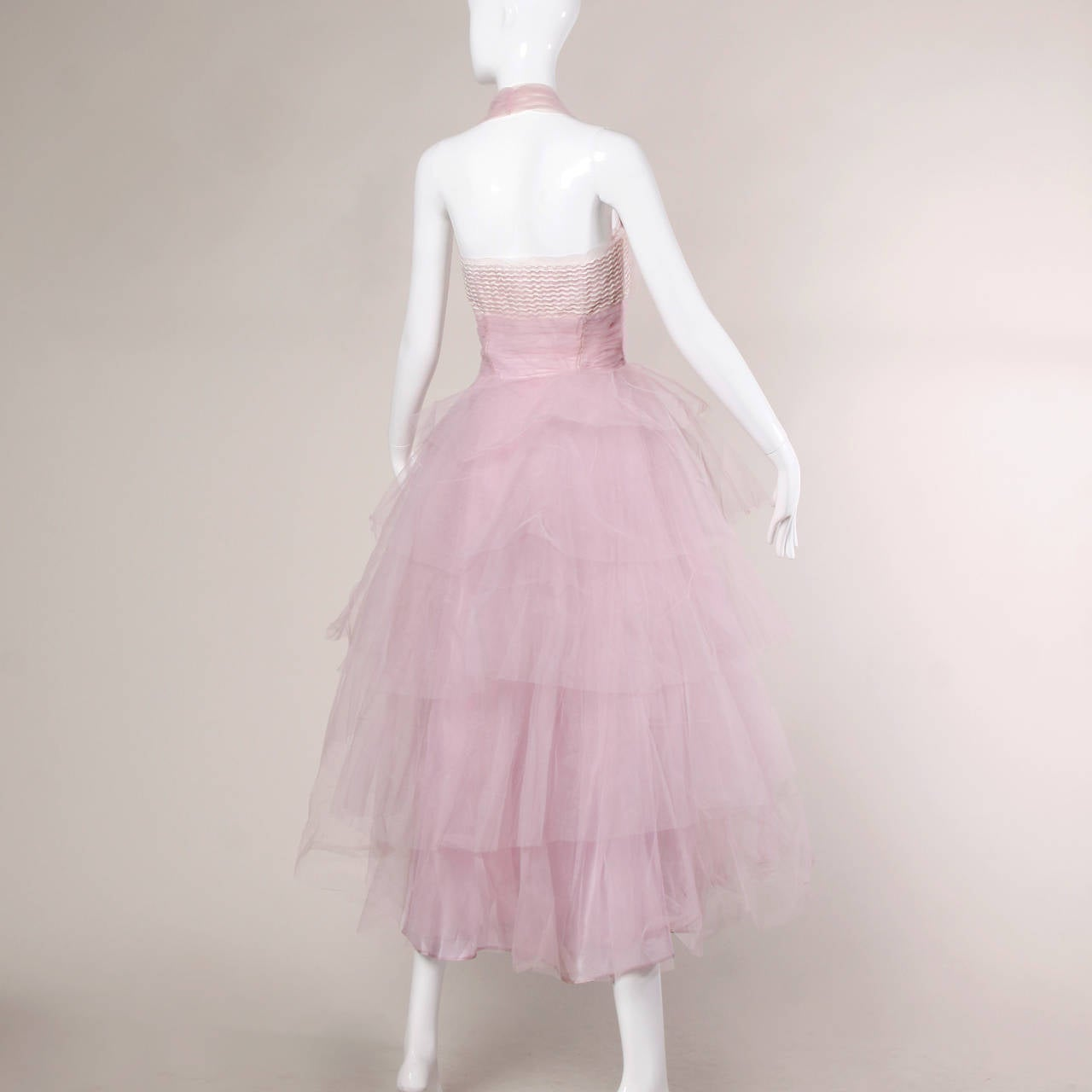 1950s Vintage Tiered Tulle Formal Cupcake Dress 5