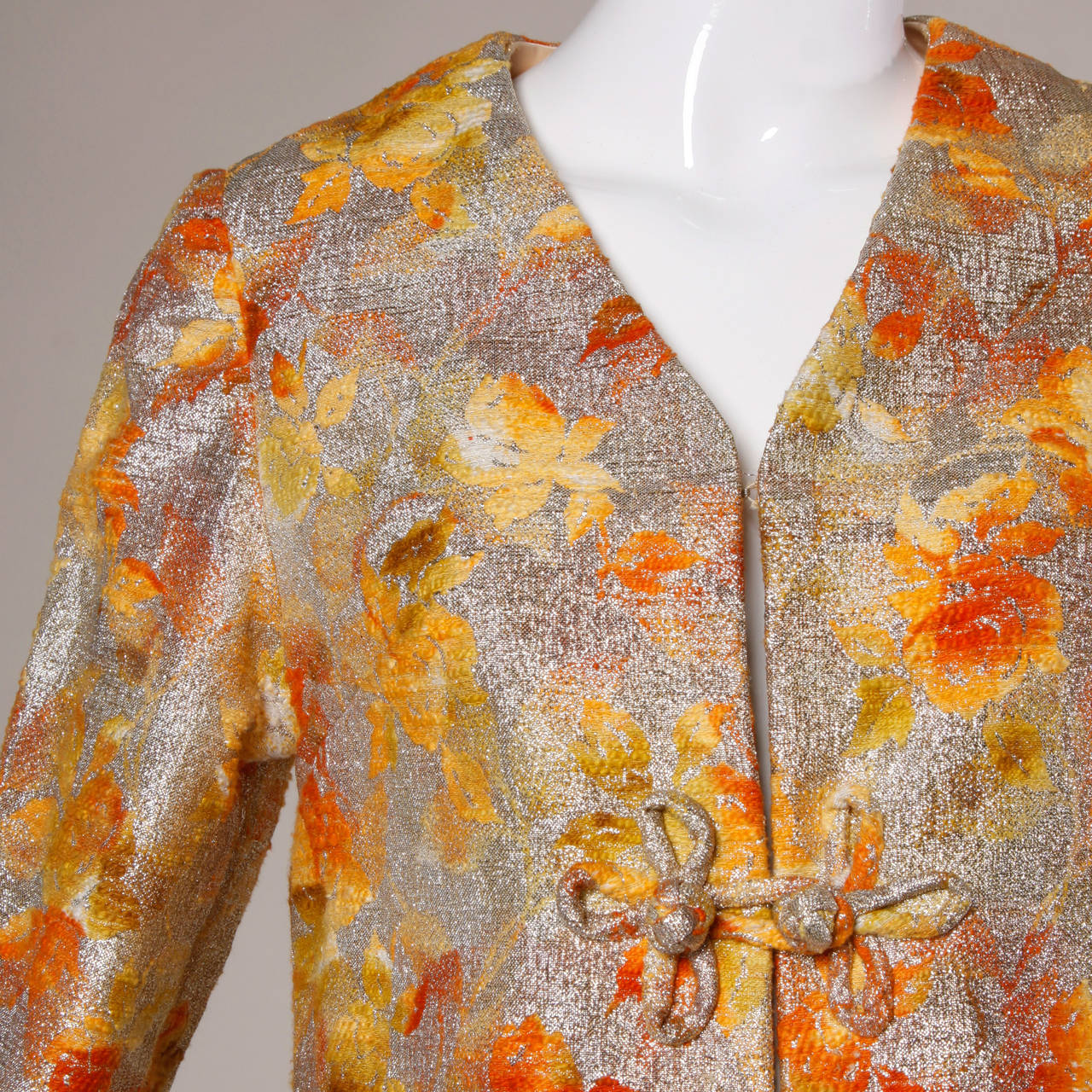 1960s Vintage Metallic Brocade Ombre Coat 2
