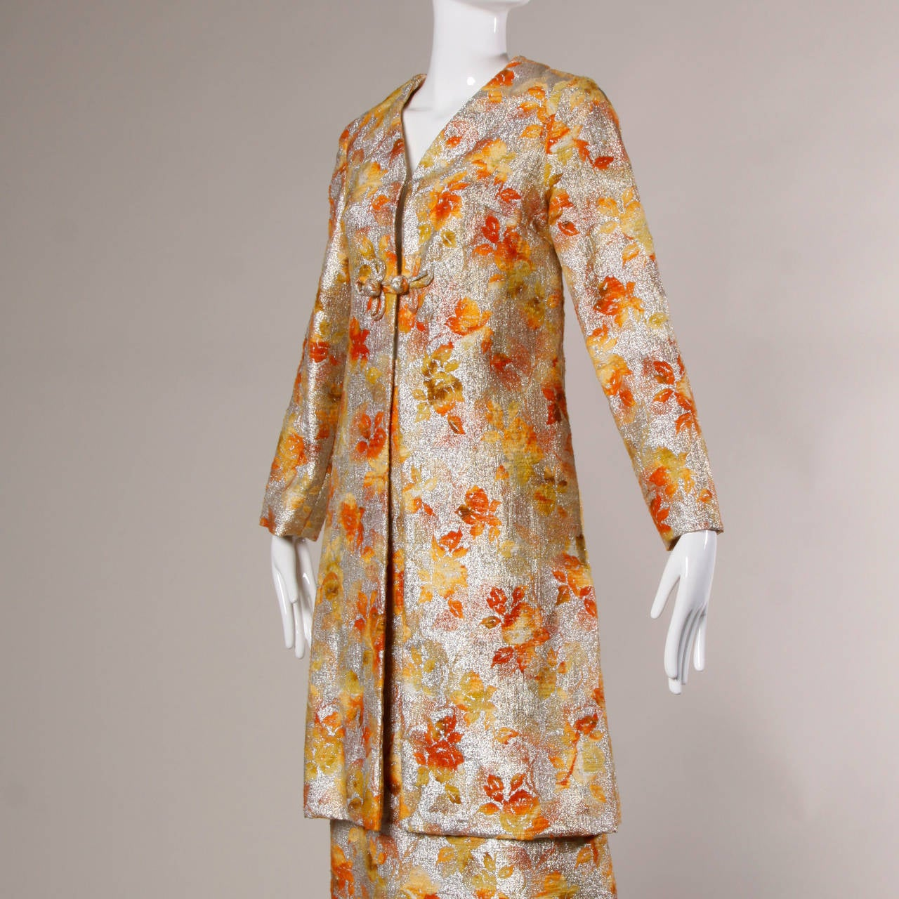 1960s Vintage Metallic Brocade Ombre Coat 3