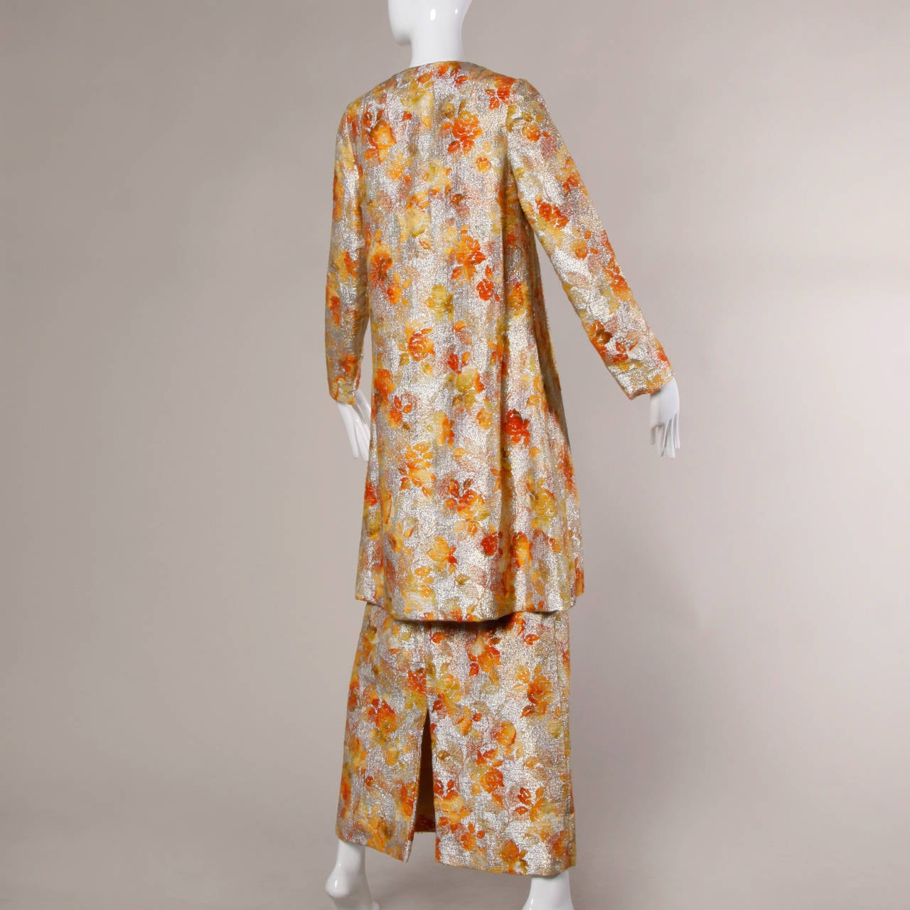 1960s Vintage Metallic Brocade Ombre Coat 4