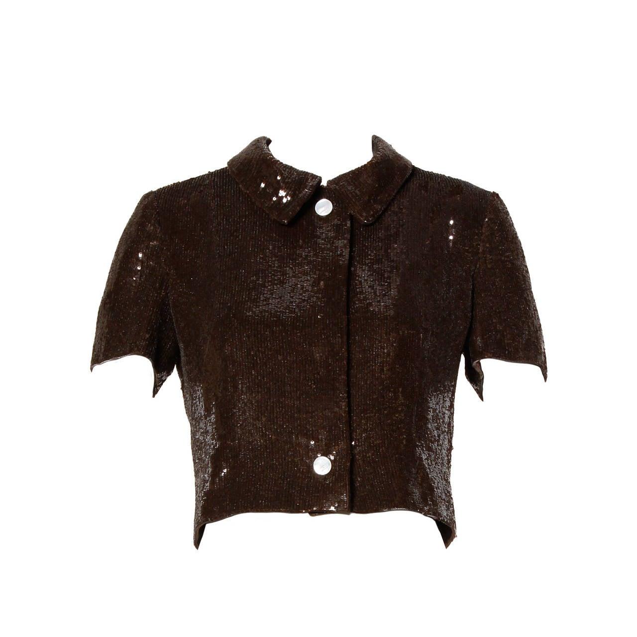 Oscar de la Renta Brown Silk Sequin Jacket or Top