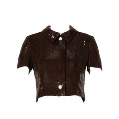 Oscar de la Renta Brown Silk Sequin Jacket or Top