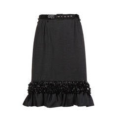 Dries Van Noten Gray Wool Skirt with Black Beaded Belt