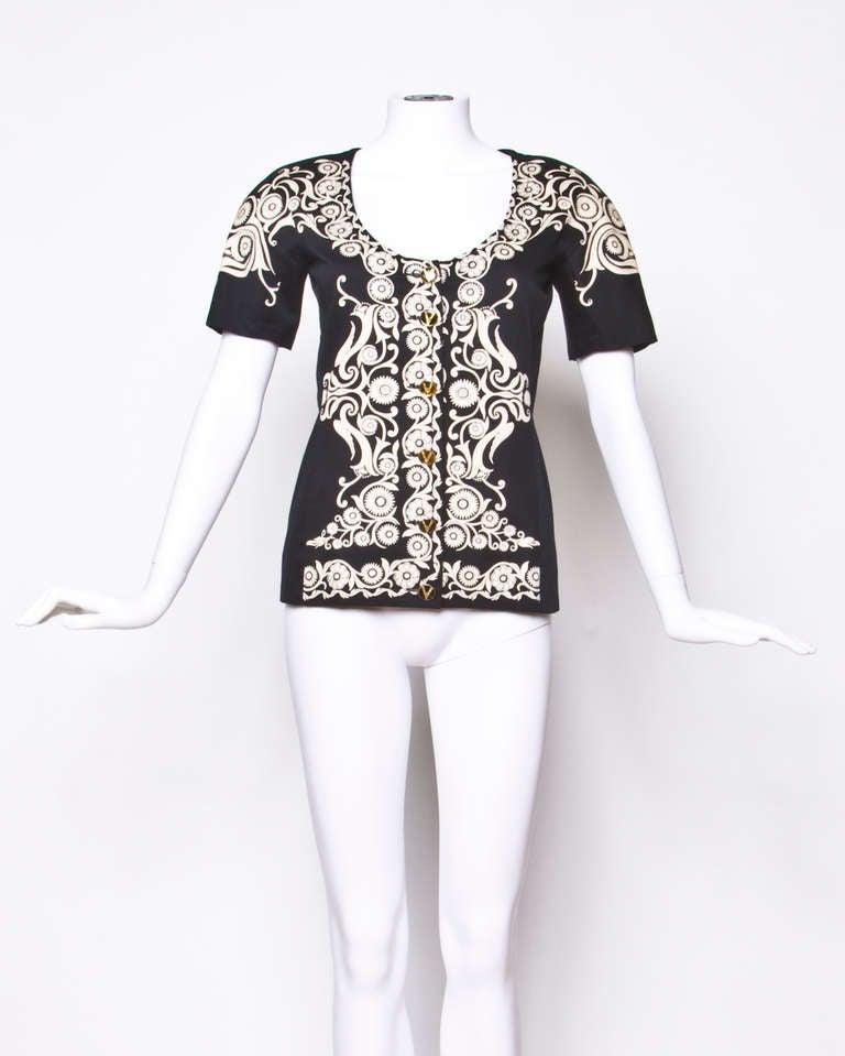Gianni Versace Vintage 1990s 90s Black + Beige Scarf Print Short-Sleeve Jacket 2
