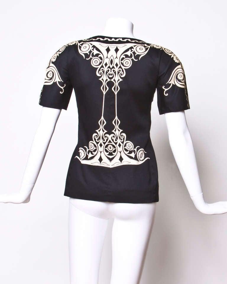 Gianni Versace Vintage 1990s 90s Black + Beige Scarf Print Short-Sleeve Jacket 6