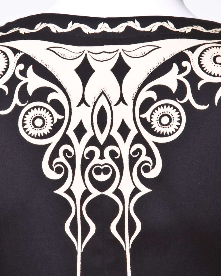 Gianni Versace Vintage 1990s 90s Black + Beige Scarf Print Short-Sleeve Jacket 7