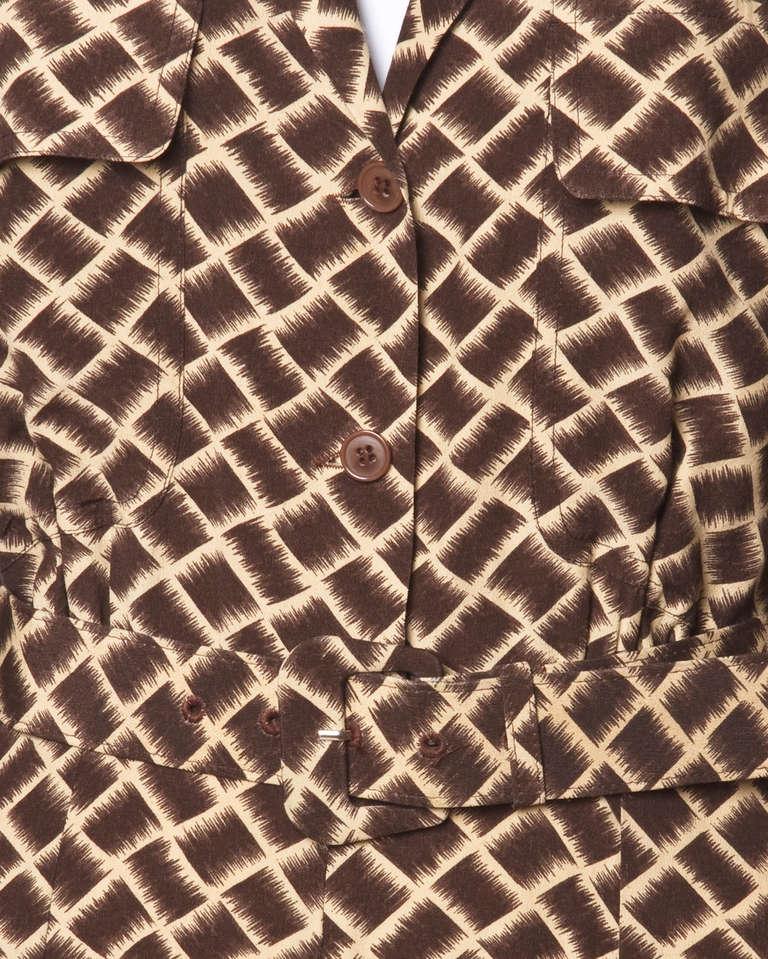 Norma Kamali Omo 1990s 90s Vintage Geometric Print Dolman Dress + Belt For Sale 1