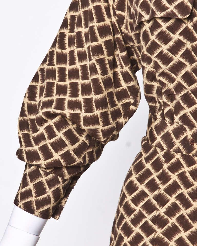 Norma Kamali Omo 1990s 90s Vintage Geometric Print Dolman Dress + Belt For Sale 2