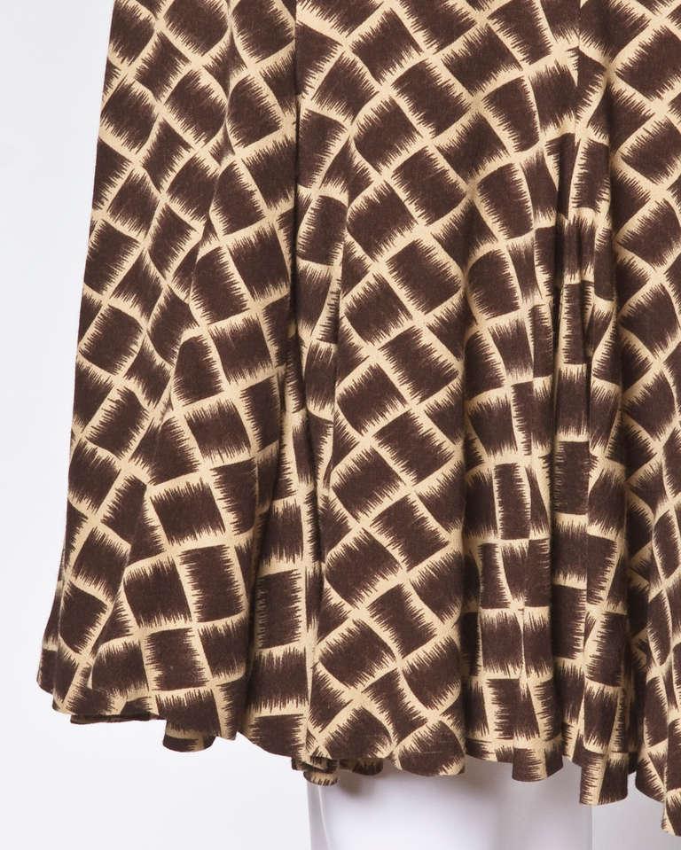Norma Kamali Omo 1990s 90s Vintage Geometric Print Dolman Dress + Belt For Sale 3