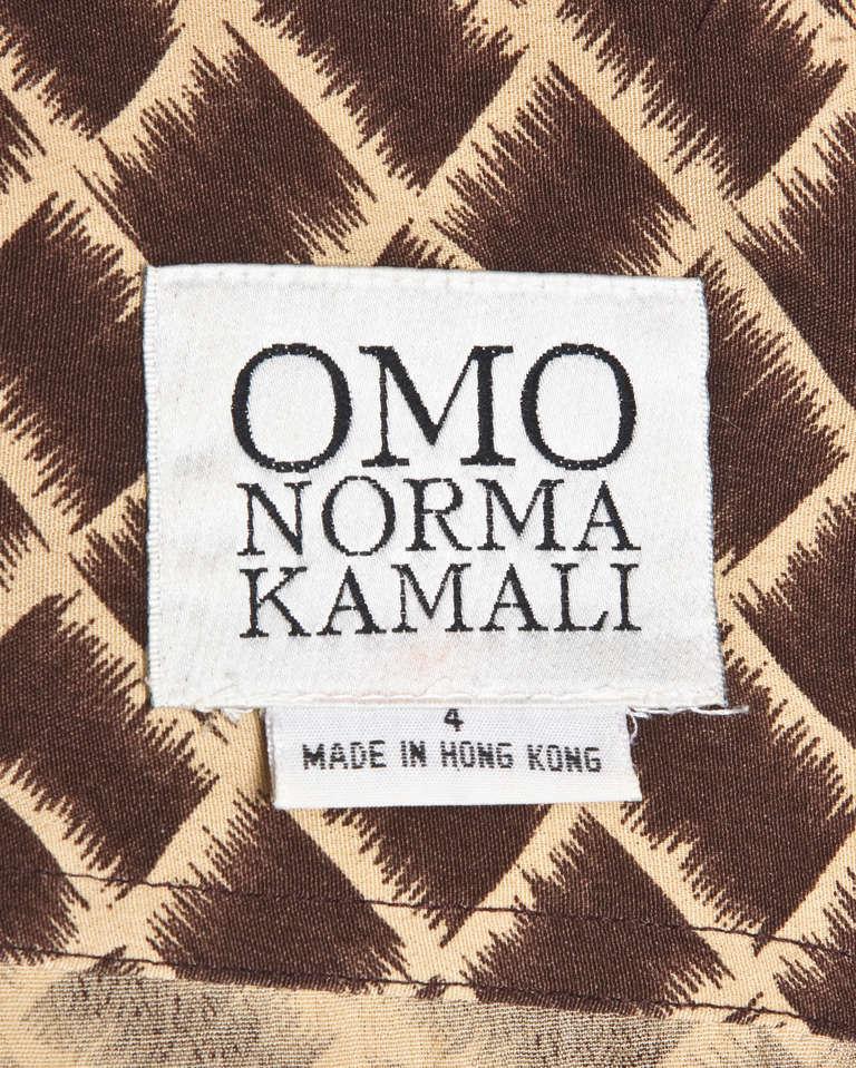 Brown Norma Kamali Omo 1990s 90s Vintage Geometric Print Dolman Dress + Belt For Sale