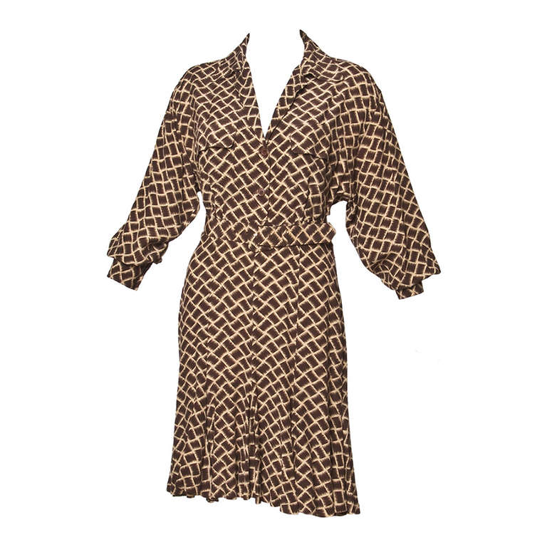 Norma Kamali Omo 1990s 90s Vintage Geometric Print Dolman Dress + Belt For Sale