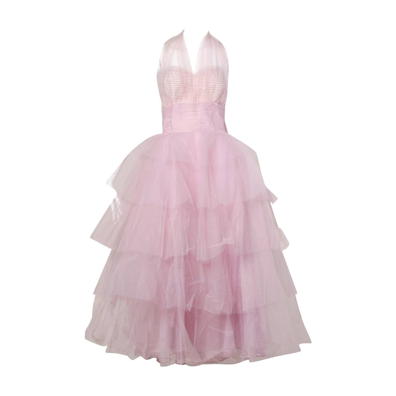 1950s Vintage Tiered Tulle Formal Cupcake Dress 1