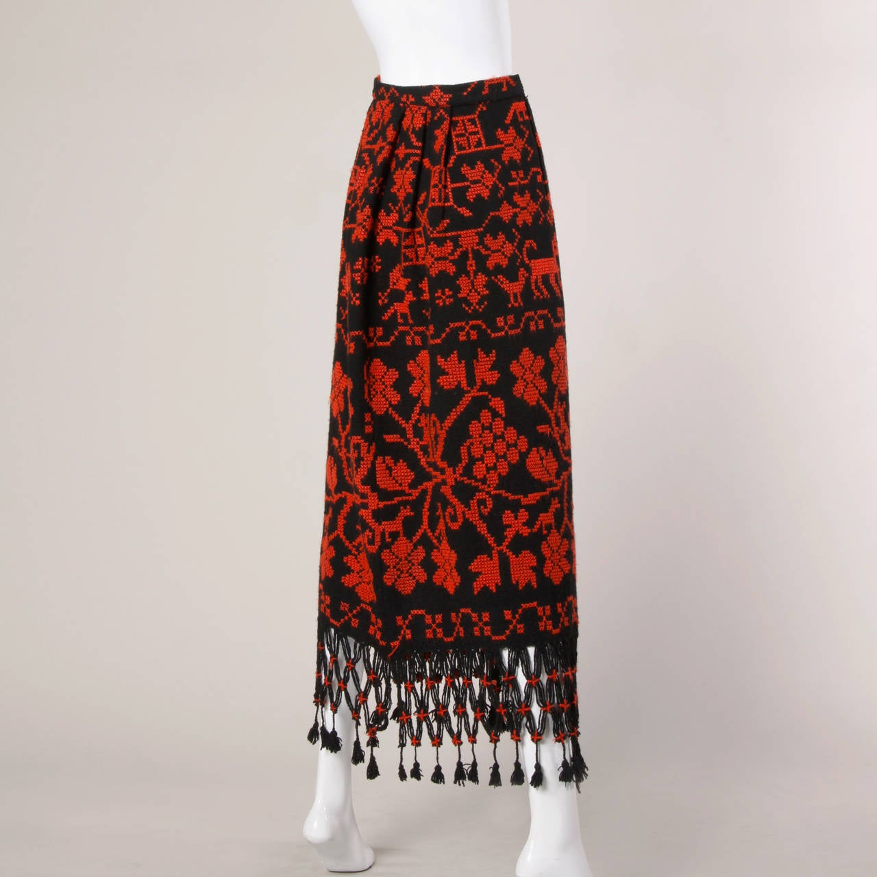 Vintage Hand Embroidered Cross Stitch Maxi Skirt 4