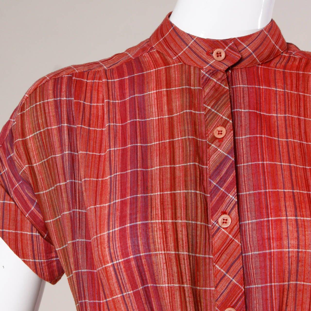 9368cc0789c Pink Pierre Balmain Vintage Plaid Dress + Matching Sash For Sale
