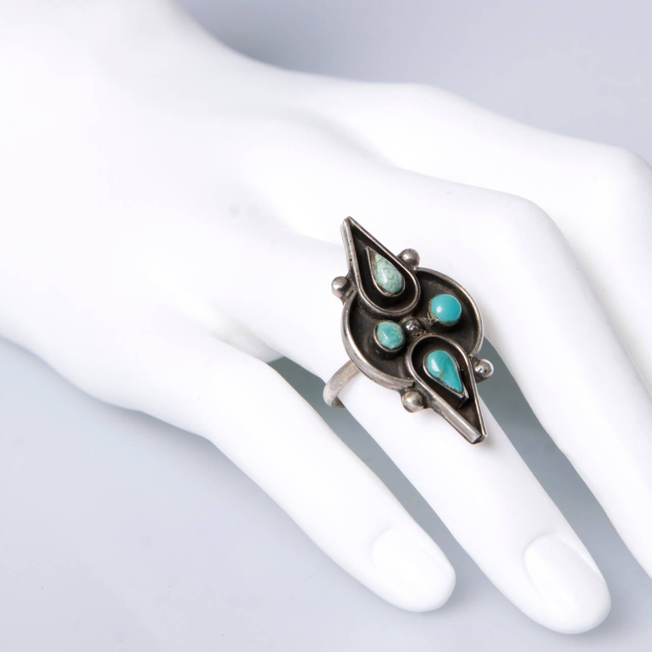 1970s Native American Turquoise Sterling Silver Band Ring Size 7 2