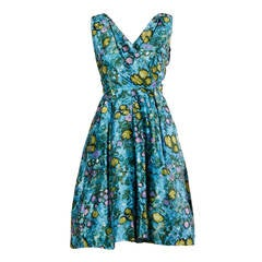 I. Magnin Vintage Floral Print Silk Cocktail Dress