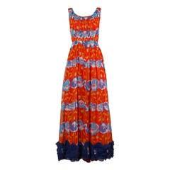 1970s Victor Costa for Romantica Vintage Floral Print Maxi Dress