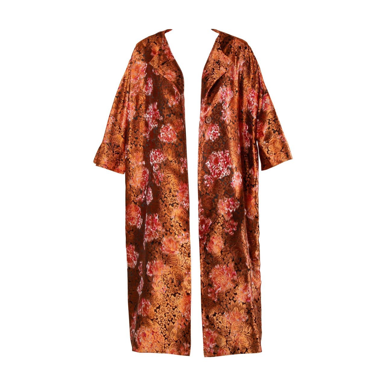 1960s Vintage Japanese Silk Kimono Coat or Robe 1