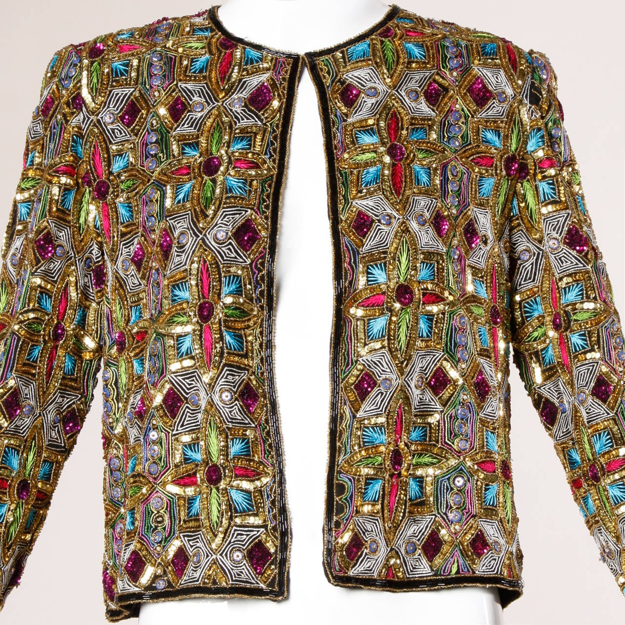 Vintage Stained Glass Sequin + Beaded Trophy Jacket 7