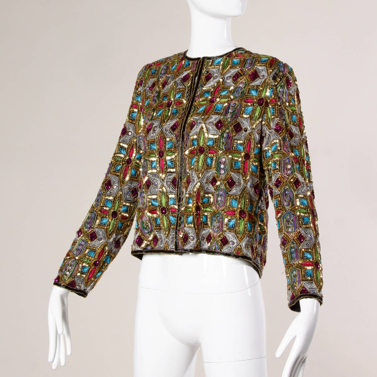Vintage Stained Glass Sequin + Beaded Trophy Jacket 2