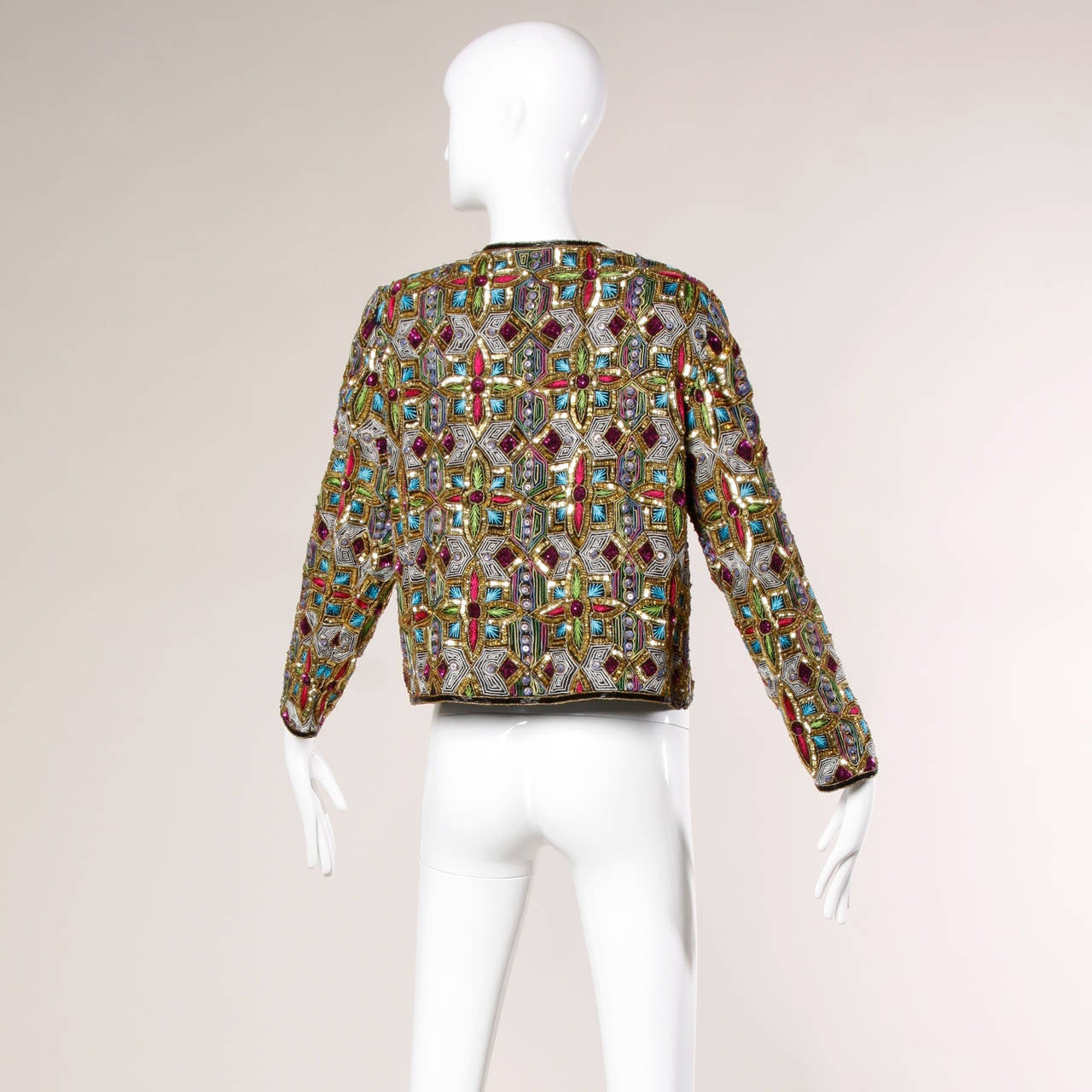 Vintage Stained Glass Sequin + Beaded Trophy Jacket 5