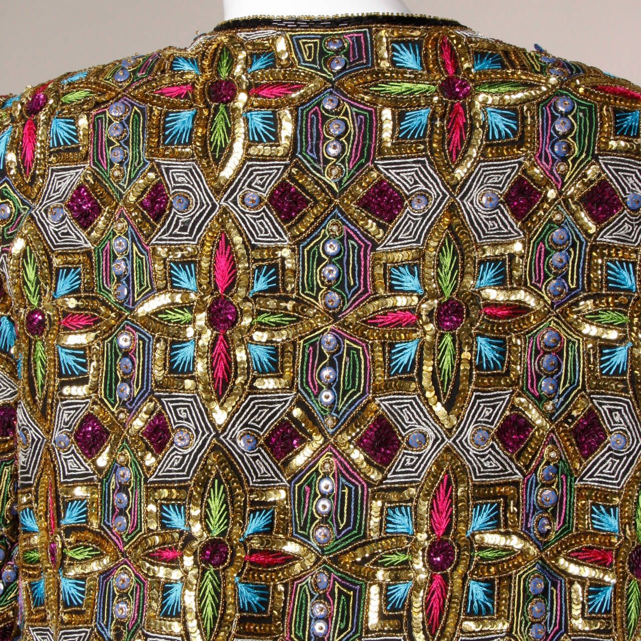 Vintage Stained Glass Sequin + Beaded Trophy Jacket 6