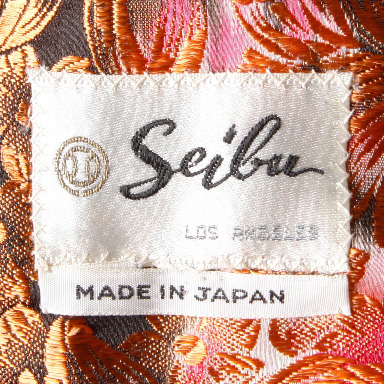 1960s Vintage Japanese Silk Kimono Coat or Robe 8
