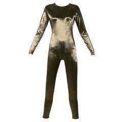 Vintage Metallic Catsuit or Jumpsuit by Henri Bendel